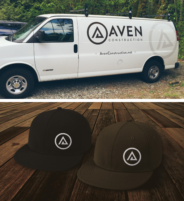 Aven Construction Logo - Vehicle Wrap & Hat